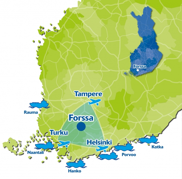 Map of Southern Finland with Forssa, major cities, airports and harbours